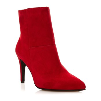 Bottines bout pointu en cuir - rouge