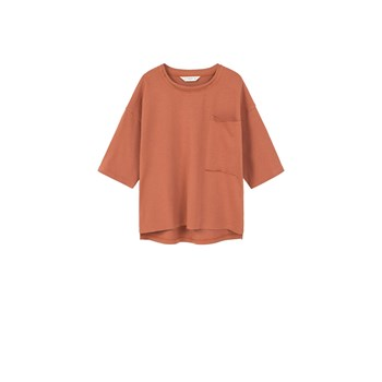 T-shirt en coton avec poche - orange