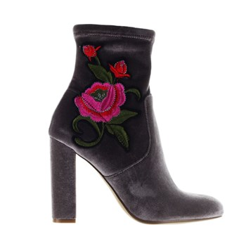Bottines en velours avec broderies - gris