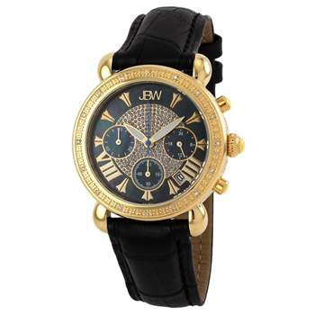 JBW - Orologio analogico in pelle con diamanti - nero