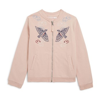 Sweat-shirt zippé brodé - rose