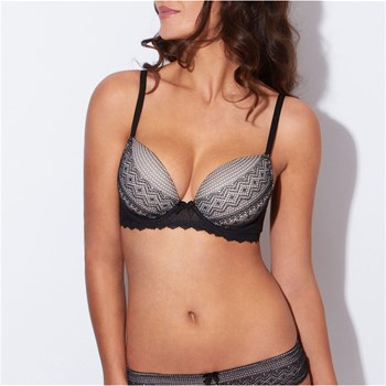 Etam Lingerie - Black and white - Soutien-gorge ampliforme - noir