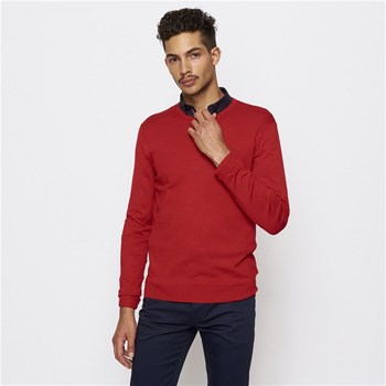 Pull col rond - rouge