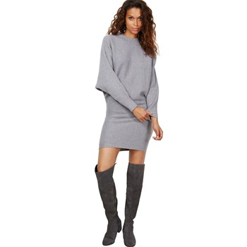 Robe tricot col montant - gris