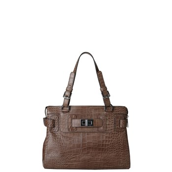 Kate croco grace - Sac à main en cuir - taupe