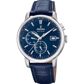 Timeless Chrono - Montre en cuir - bleu