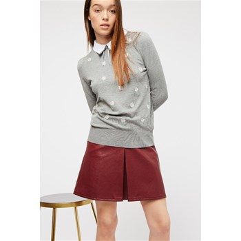 London - Pull en maille fleurie - gris chine