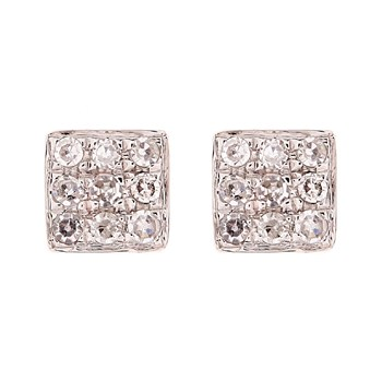Puces carré distinction - Pendientes de oro blanco y diamantes