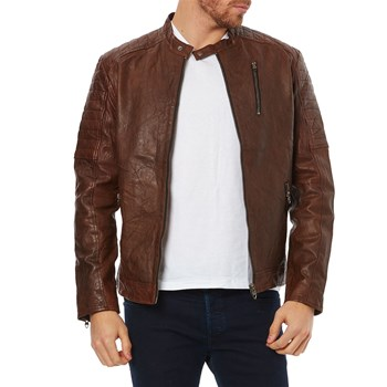 Jack & Jones - JJVRichard Noos - Chaqueta de cuero - marrón