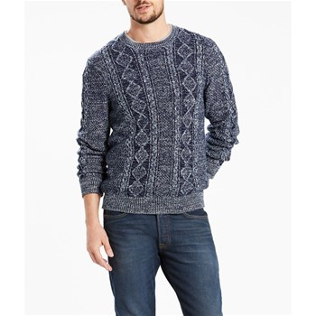 Fisherman cable crew sweater - Pull - bleu brut