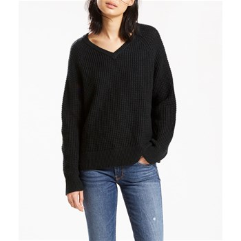 Wafle Stitch Vneck Sweater - Pull - noir