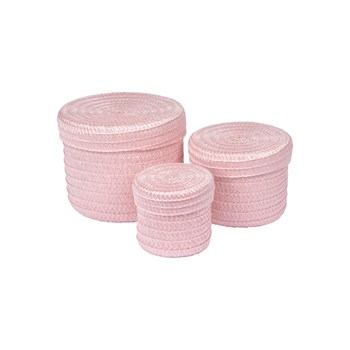 Homea - Trendy - Set de 3 boîtes rondes - rose