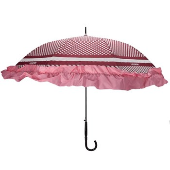 Grand parapluie à pois - rose