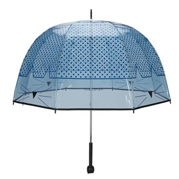 Grand parapluie cloche transparent chat - bleu