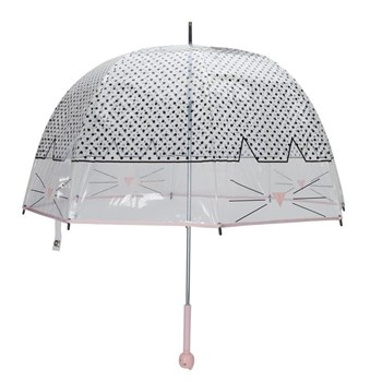 Grand parapluie cloche transparent chat - blanc