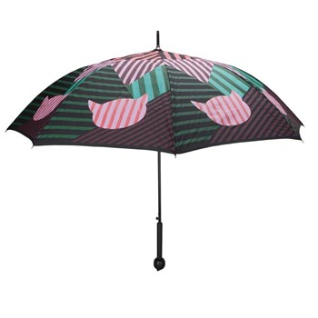 Grand parapluie rayures chat - rose