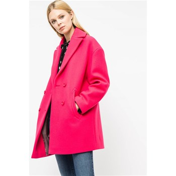 Hello - Manteau droit mi-long 75% laine - fuchsia
