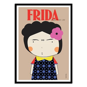 Wall Editions - Illustration Pop portrait - Frida by Ninasilla - Affiche art 50x70 cm