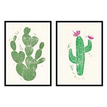 Wall Editions - Linocut Cactus - 2 Affiches 30x40 cm