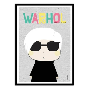 Wall Editions - Illustration Pop portrait - Andy warhol - Affiche art 50x70 cm