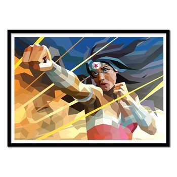 Wall Editions - Illustration Super Heros - Wonderwoman - Affiche art 50x70 cm