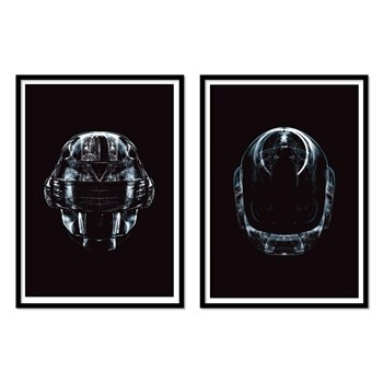 Wall Editions - Illustrations Daft Punk Black Faces - Lot de 2 affiches 30 x 40 cm