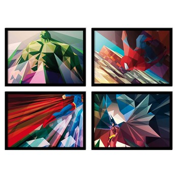 Wall Editions - Spiderman - Hulk - Batman - Superman - Lot de 4 affiches 20 x 30 cm