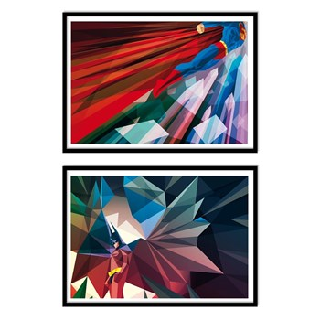 Wall Editions - Illustrations Superheros - Batman and Superman - Lot de 2 affiches 30 x 40 cm