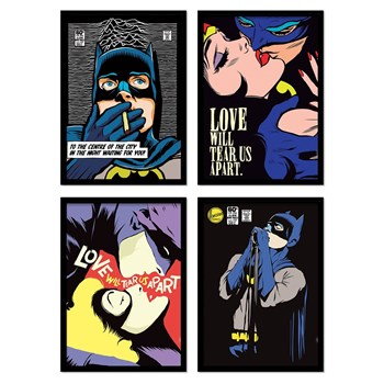 Wall Editions - Illustrations Comics Pop Super Heroes - 4 Affiches 20x30 cm