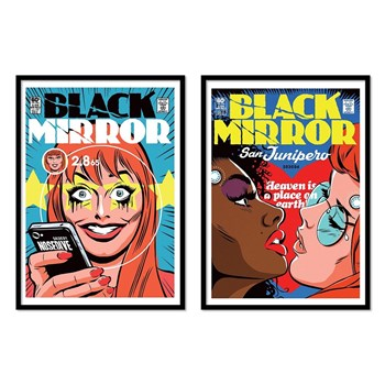 Wall Editions - Serie Black Mirror - Lot de 2 affiches 30 x 40 cm