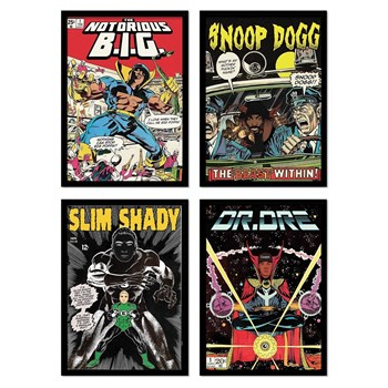 Wall Editions - Illustrations Comics Rappers - 4 affiches 20 x 30 cm