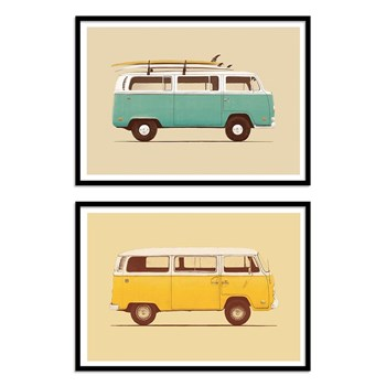 Wall Editions - Illustrations Hippie and surf Vans - Lot de 2 affiches 30 x 40 cm - multicolore