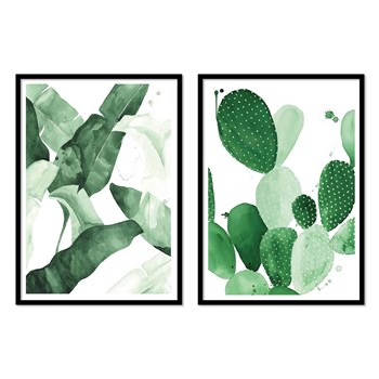 Plants and Cactus - Lot de 2 affiches 30 x 40 cm - vert