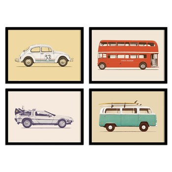 Wall Editions - Illustrations - Vehicules Pop - 4 Affiches 20x30 cm