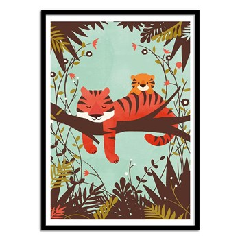 Wall Editions - Sleeping Tiger - Affiche art - multicolore