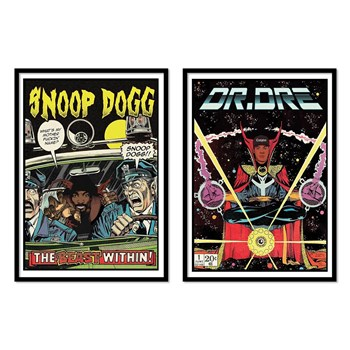 Wall Editions - Comics Rappers - Snoop Dogg and Dr Dre - 2 Affiches 30x40 cm