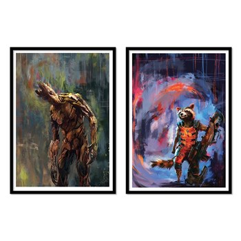 Wall Editions - Groot and Rocket - Lot de 2 affiches - multicolore