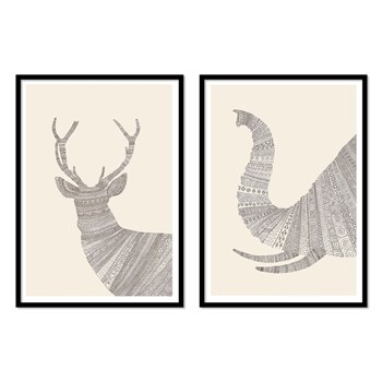 Wall Editions - Cerf et Elephan - 2 affiches 30 x 40 cm