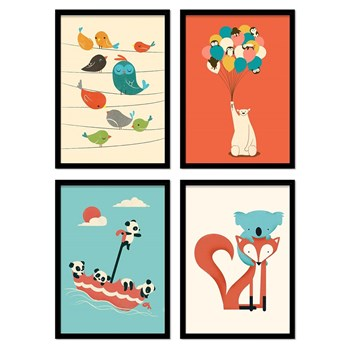 Wall Editions - Bébés animaux Jay Fleck - 4 Affiches 20x30 cm
