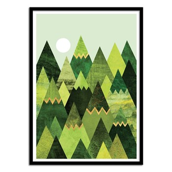 Forest Mountains - Affiche art 50 x 70 cm - vert