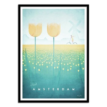 Wall Editions - Illustration Voyage - Visit Amsterdam - Affiche art 50 x 70 cm