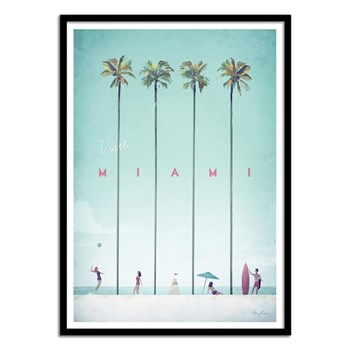 Wall Editions - Illustration Voyage - Visit Miami - Affiche art 50 x 70 cm