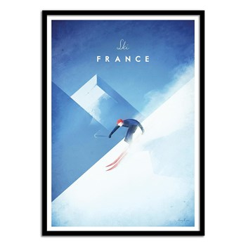Wall Editions - Illustration Voyage - Ski France - Affiche art 50 x 70 cm