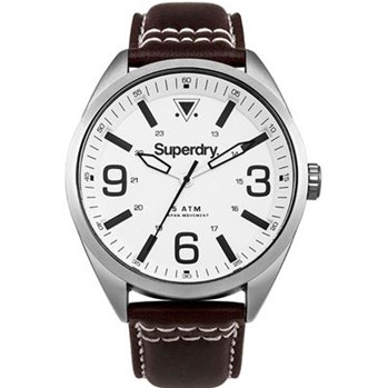Superdry - Military - Montre avec bracelet en cuir - marron