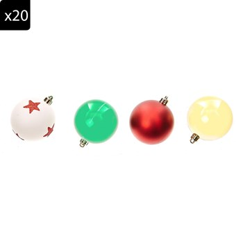 Lot de 20 Boules de Noël - multicolore