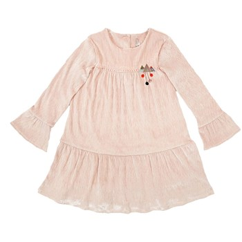 Oison - Robe velours embellie de points noeuds - rose