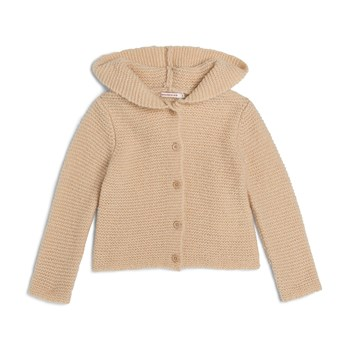 Monoprix Kids - Cardigan à capuche point mousse - blé