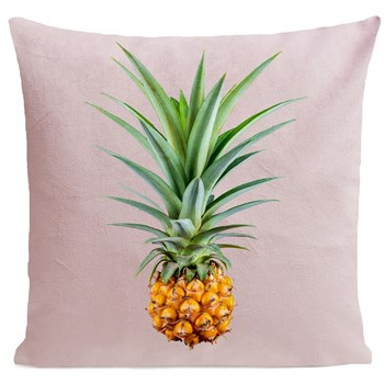 Mr Pineapple - Coussin en velours - rose clair