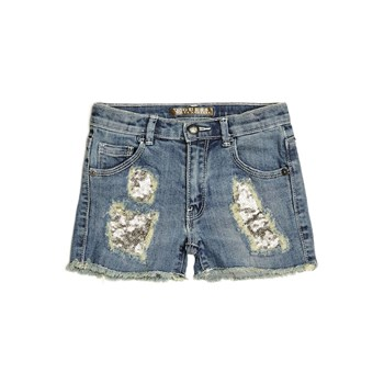 Short denim à paillettes - bleu