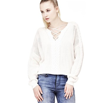 Guess - Pull à lacets frontaux - blanc